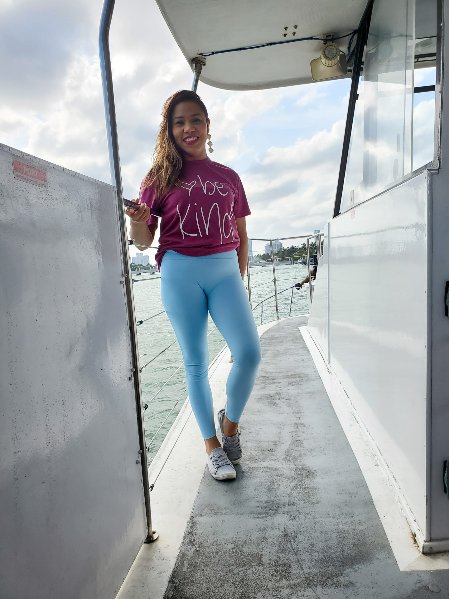 Francia posing in the yacht.