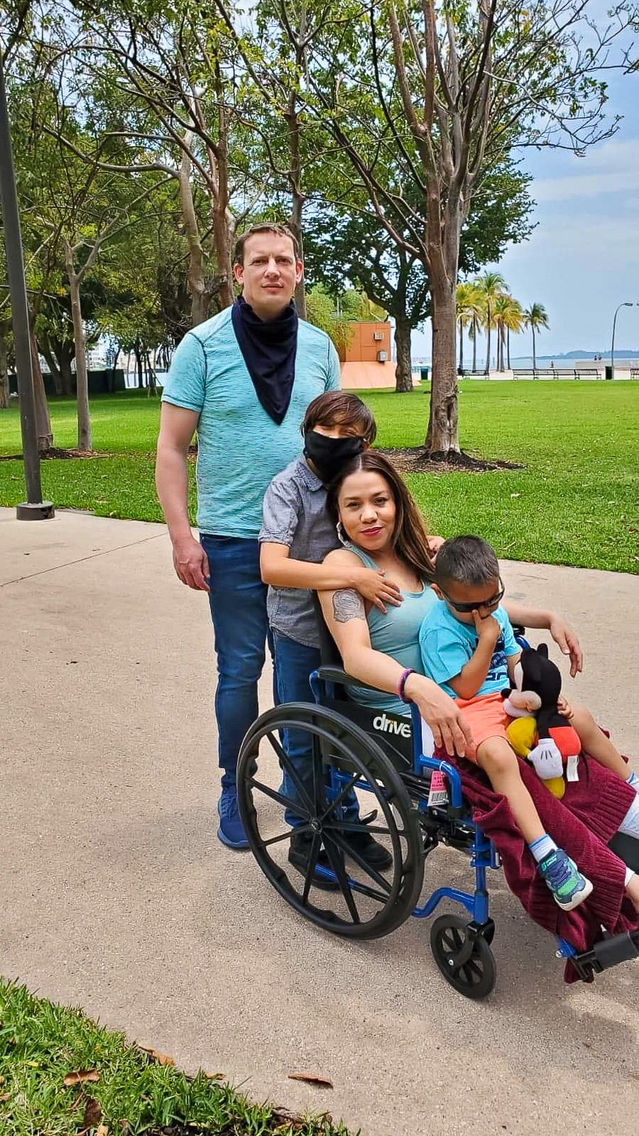 Family Benson at Bayside.  I am riding in my wheelchair.